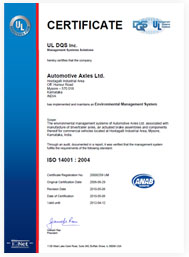 Certifacate ISO 14001 : 2004